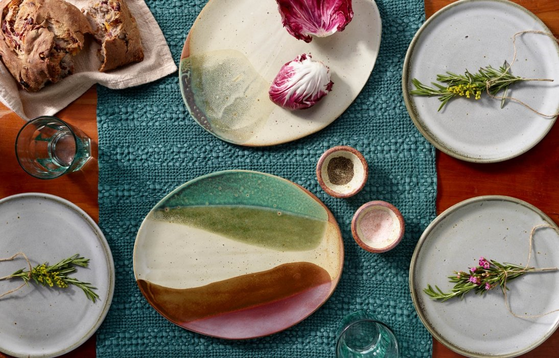 high end pottery dinning ware - product photography