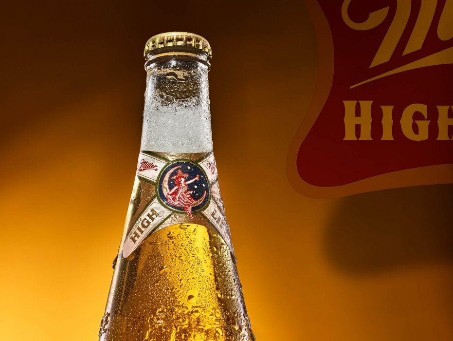 High end beer and drink photography of Miller High Life - drink phtoography
