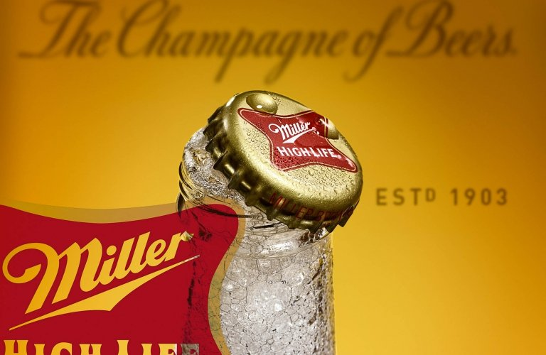High-end photography of Miller High Life beer drink photography