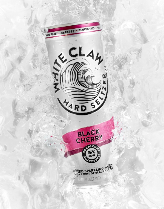 Black cherry white claw in ice bath - alcoholic drink photography