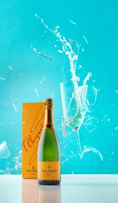Veuve Cliquol champage with shattering glass and slpash- wine photography