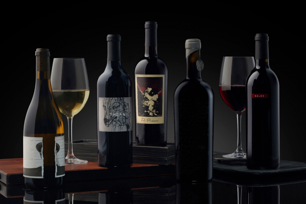 A variety of beautiful wines with dark background - wine photography