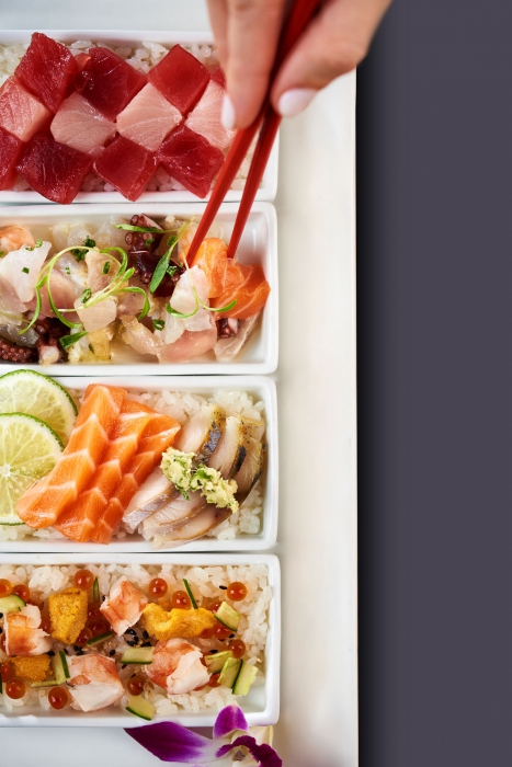 A plate of fresh sushi raw ingredients - food photography