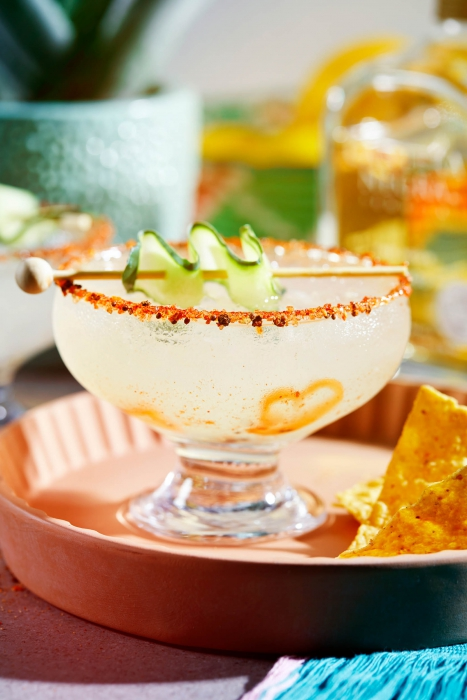 A spicy margarita with garnishes - drink cocktail photography