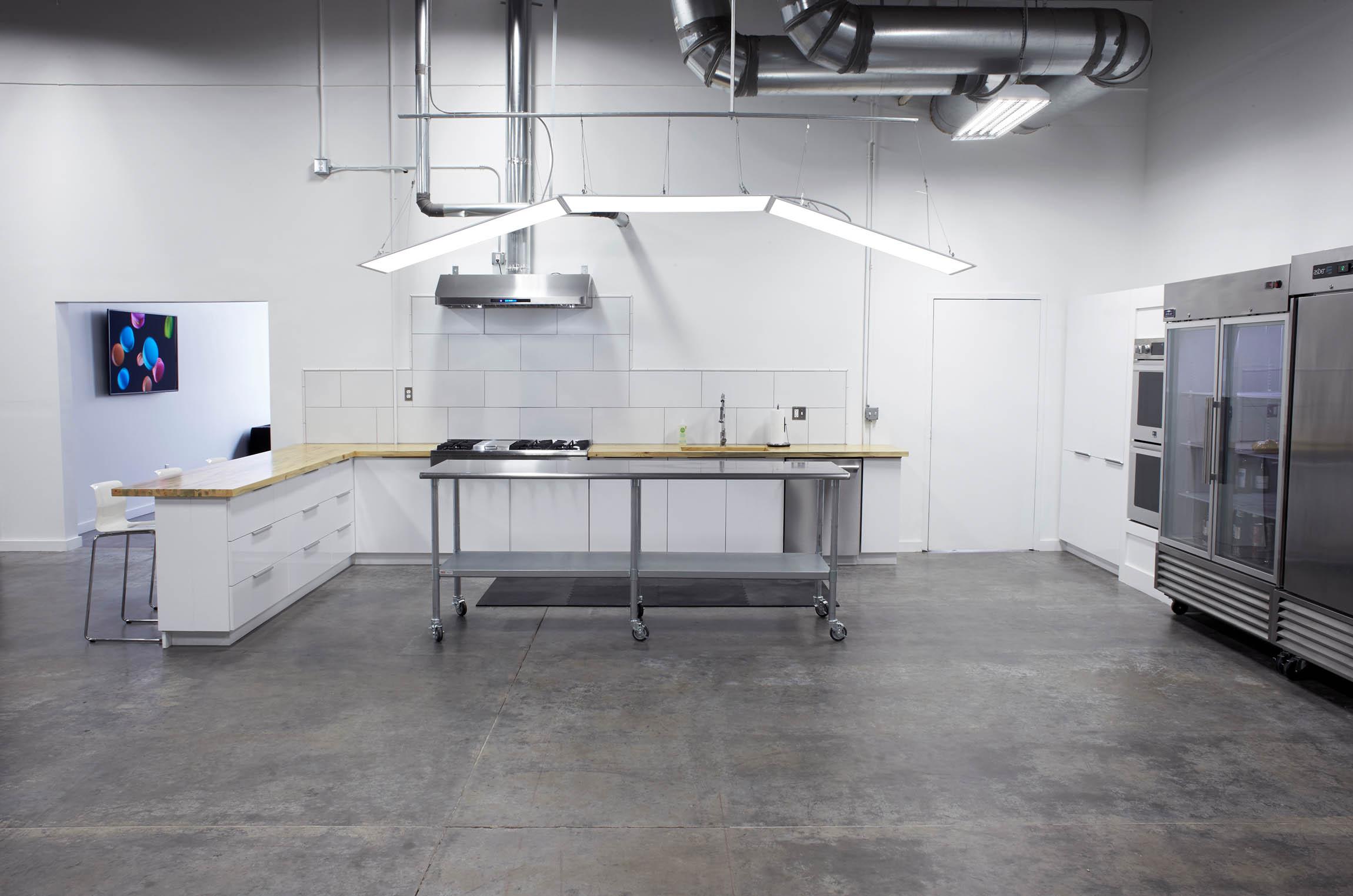 an alternate view of modern kitchen of OMS Photo's Golden Colorado photo studio