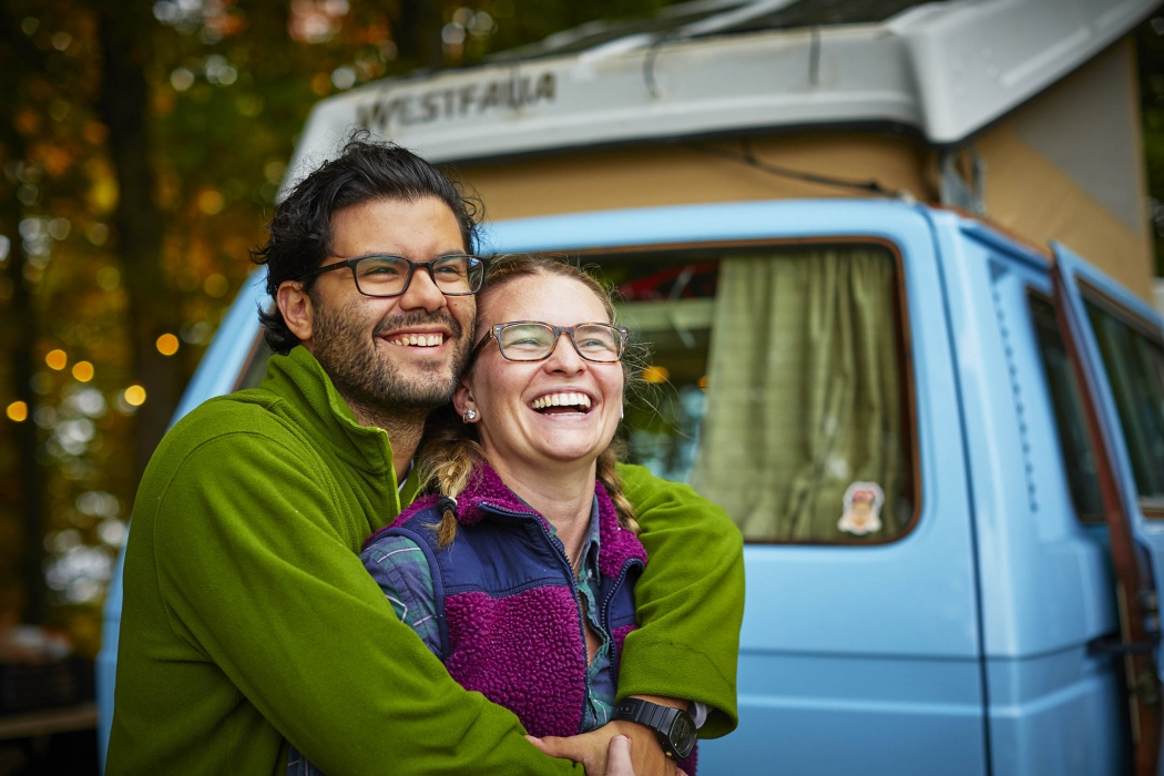Portrait of a couple with a hipster van - lifestyle portrait photography