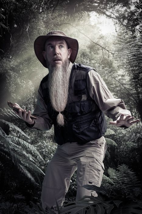 Bearded man with fossil portrait of jurassic quest cast - portrait photography - photo composite