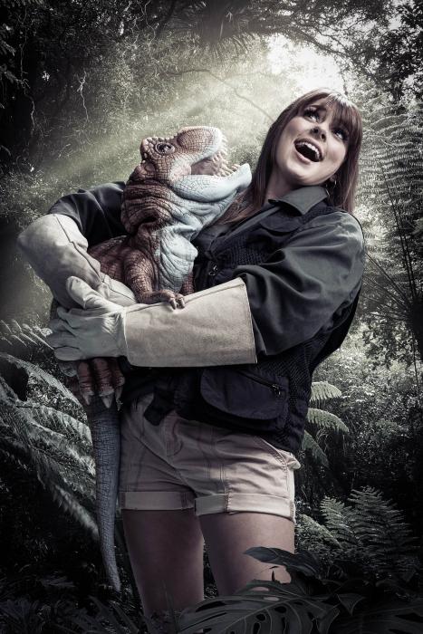 Female cast member with baby dino portrait of jurassic quest cast - portrait photography - photo composite