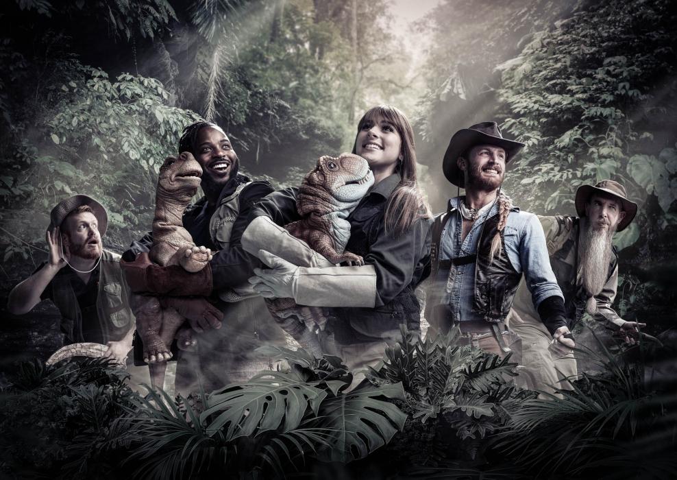 Group portrait of jurassic quest cast - portrait photography - photo composite