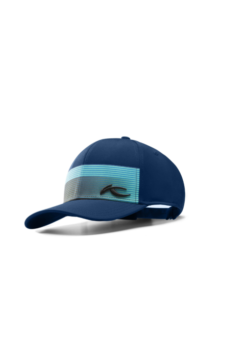 ecommercere - blue patterned kjus hat on white - product photography