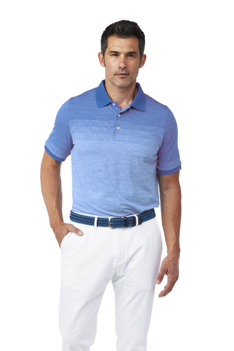 Golf Apparel Mens Blue Shirt On Male Model - Ecommerce Photography