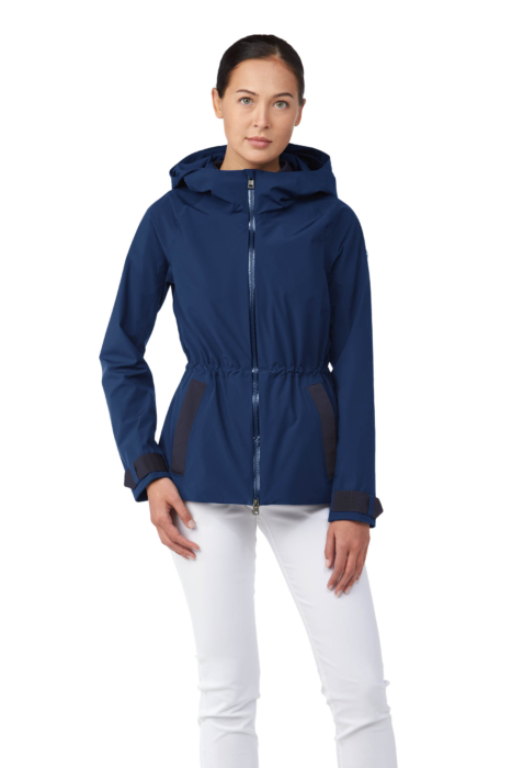 ecommercere - blue female coat kjus on white on model FRONT - product photography