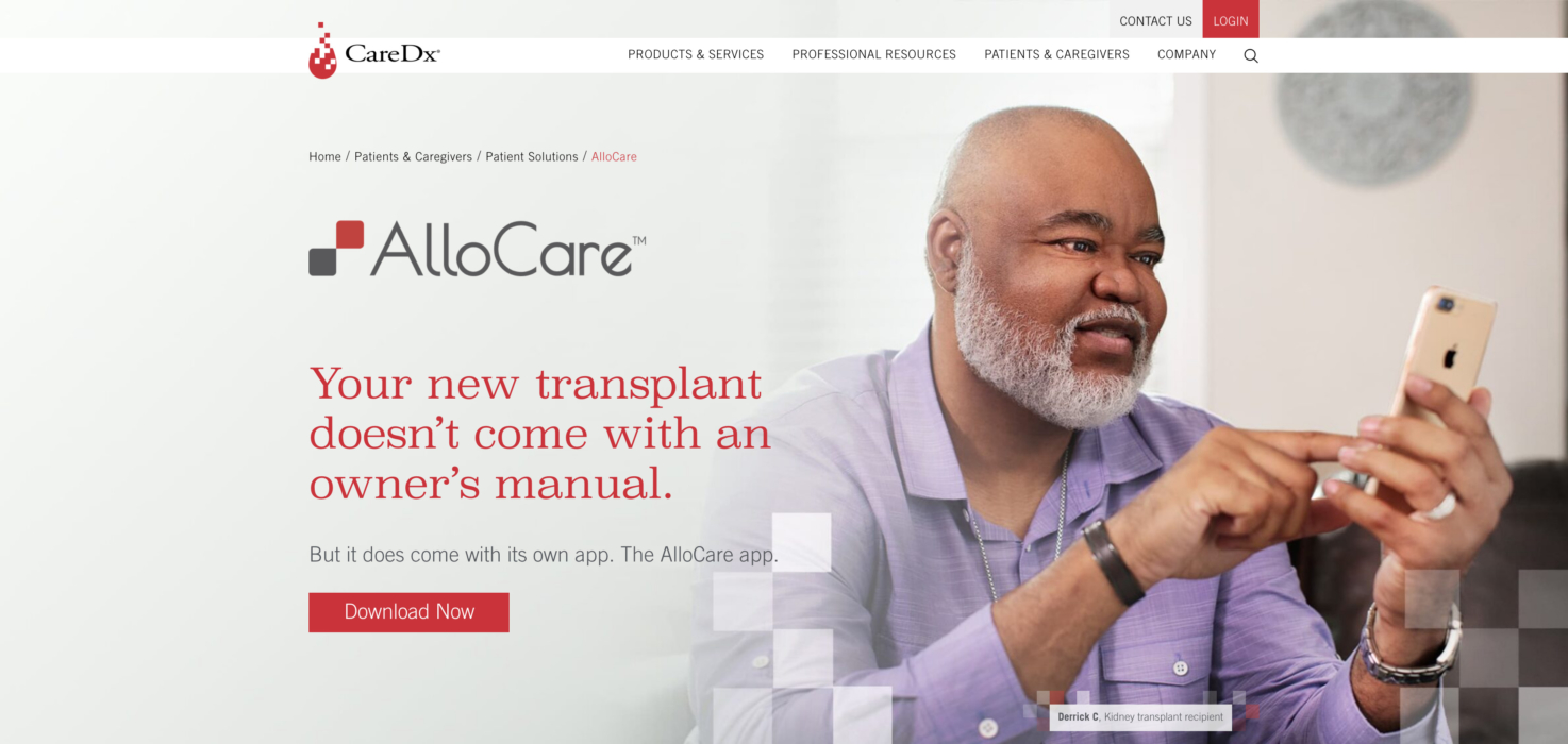 Photo for a man on a healthcare app in layout for a healthcare website