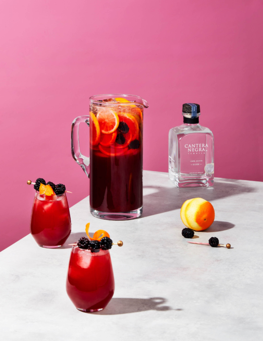 Cantera negra silver fruity cocktail pitcher - bright modern fresh drink photography