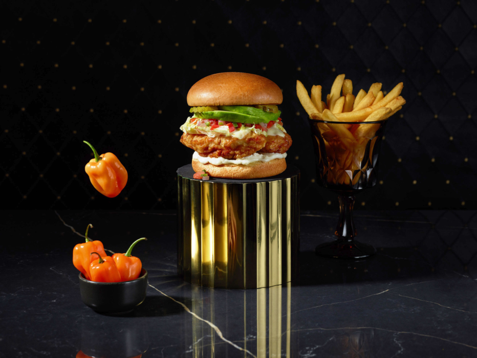 A ghostly floating ghost pepper chicken sandwich and fries - Cincinnati food photographer