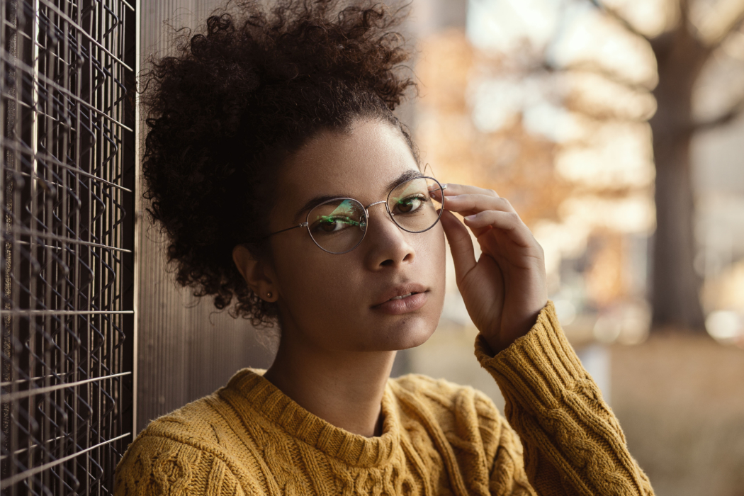 portrait of a young woman with glasses outside in autumn - Dayton Portrait Photographer