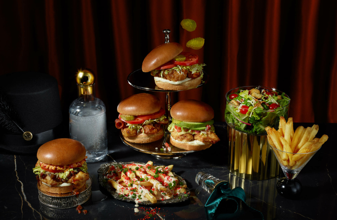 Food photography for advertising of a fried chicken sandwich menu with floating and spooky things