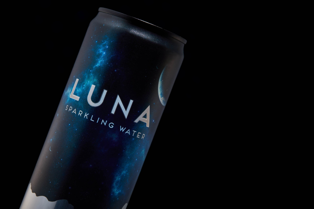 Drink photo of Luna sparkling water can and label - dark mode photo