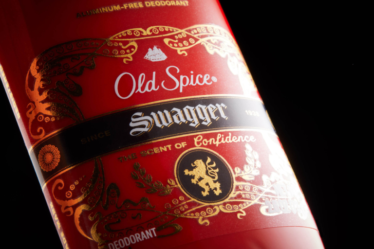 Product photo of Old Spice Swagger product and label - close - dark mode photo