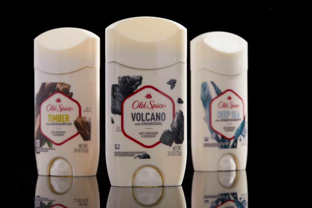 Product photo of Old Spice Swagger product and label - product group photo - dark mode photo
