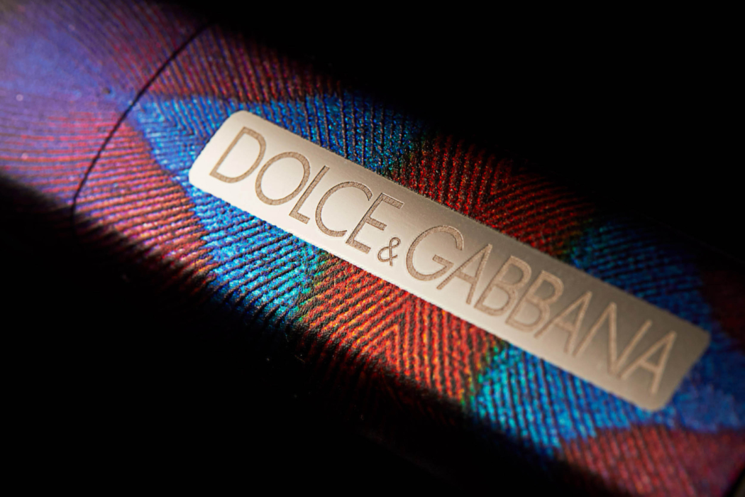 Product photo of Dolce & Gabbana product packaging and label close up view - dark mode photo