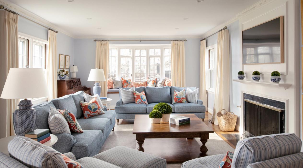 Architecture Interior photography -cape cod style - living interior blue 3