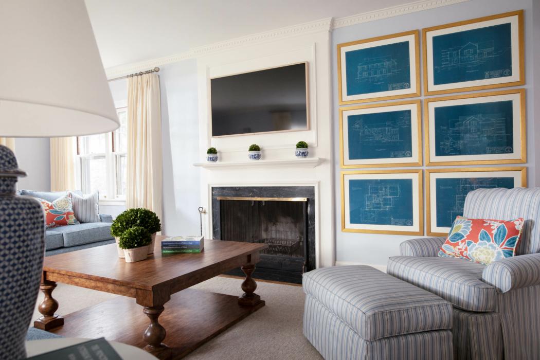 Architecture Interior photography -cape cod style - living interior blue -4