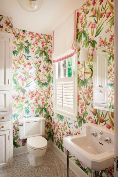 Architecture Interior photography -tropical wall paper bathroom- toilet