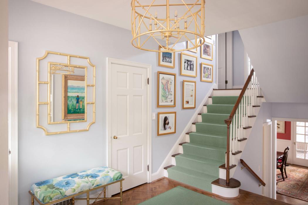 Architecture Interior photography -Stairway - landing - green carpet 1