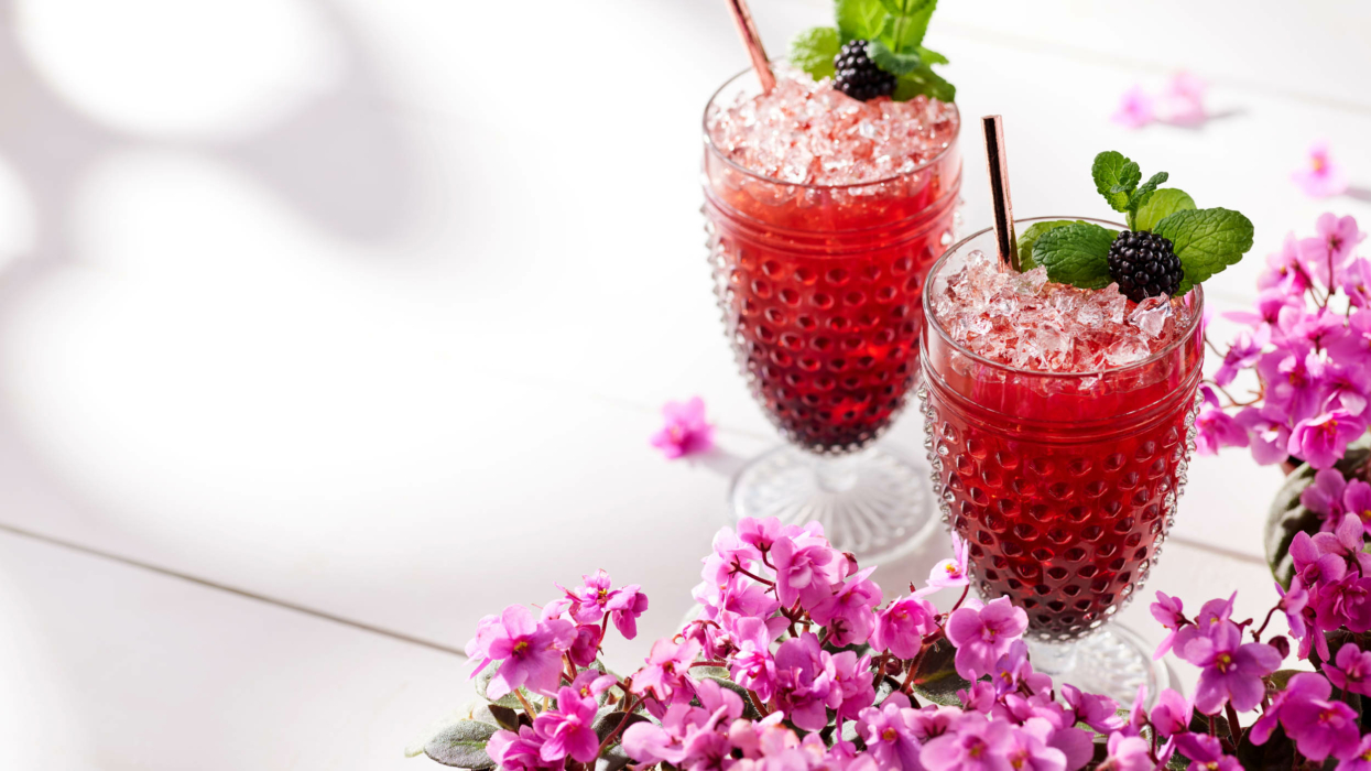 Drink photography, cocktails, Blackberry Mint Julep Margarita in glass 2
