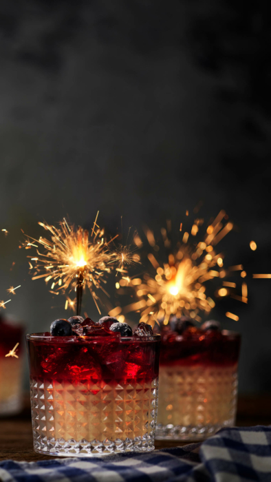 Drink photography -cocktail photo-red white and night with blueberries - with sparklers 2