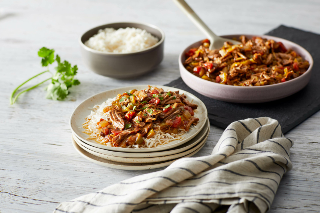Food photography - rustic setting, beef and rice