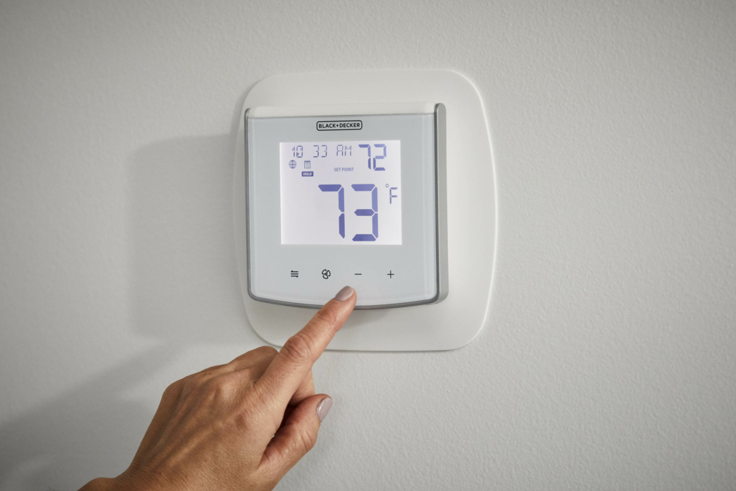 Product Photography, Thermostat, Smart thermostat, press touch, hand
