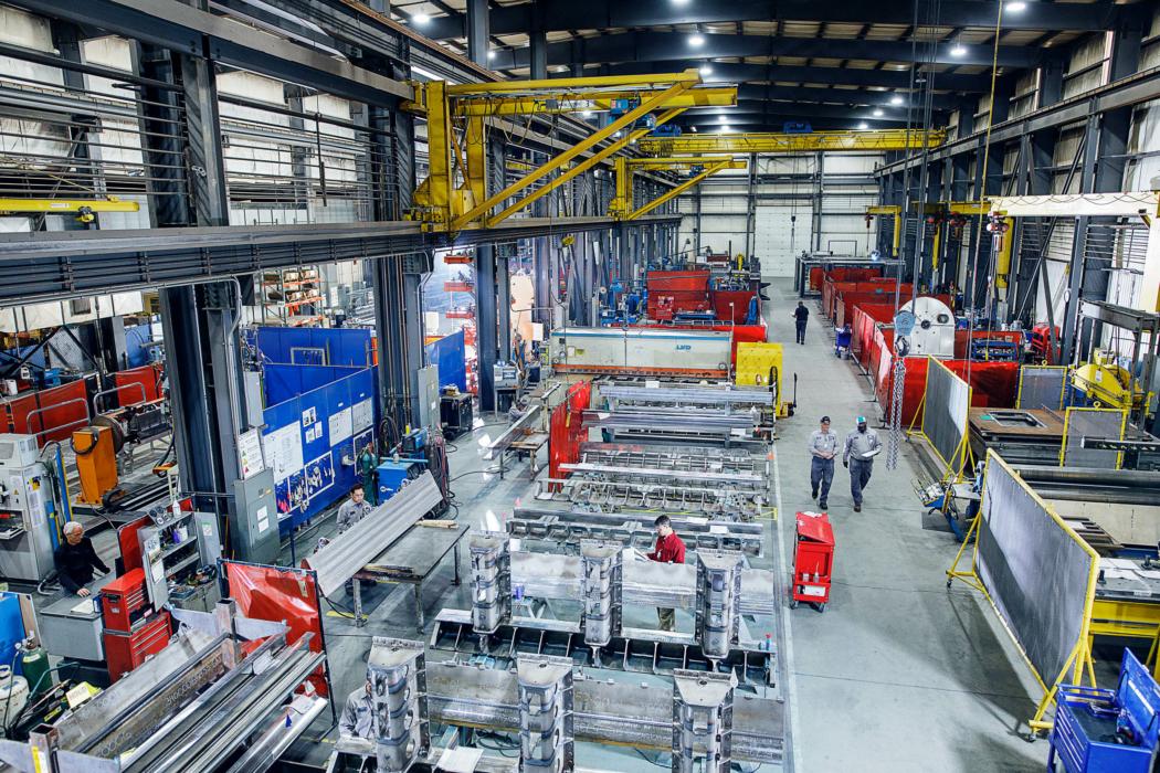 Industrial Photography factory floor overhead view