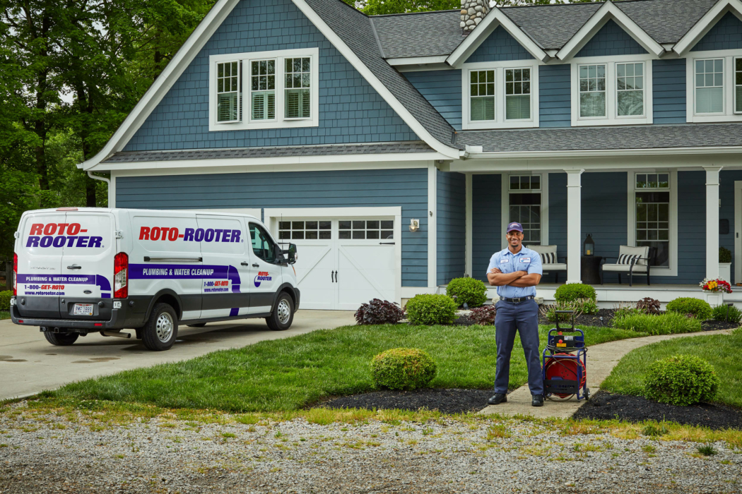 Industrial Photography, roto-rooter truck, blue house, technician